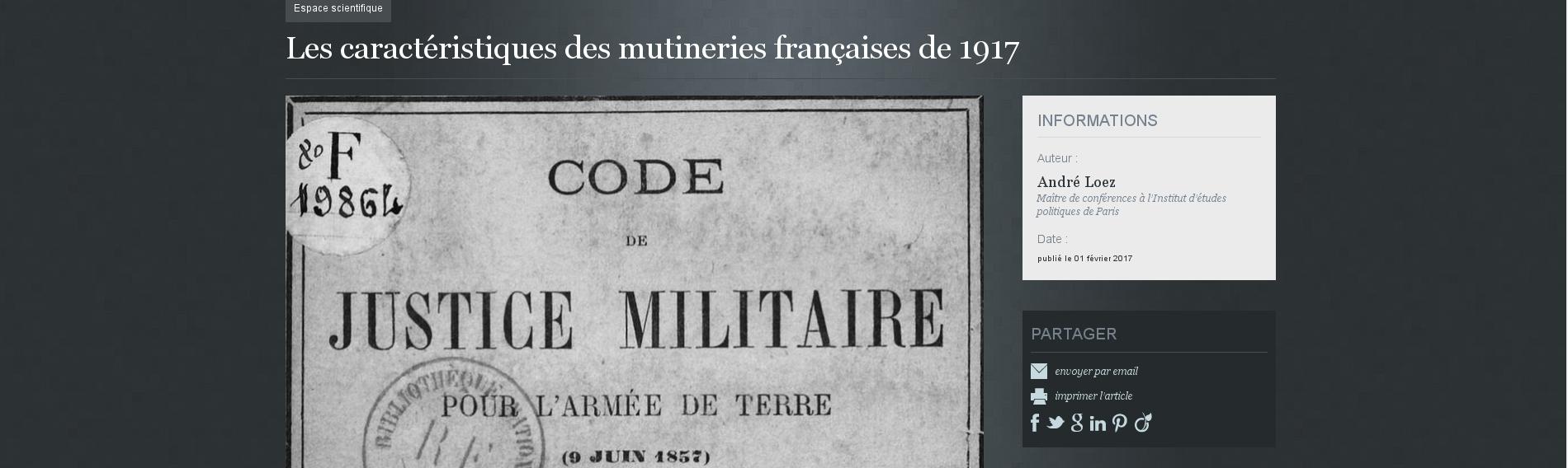 Mise au point historiographique sur les mutineries de 1917